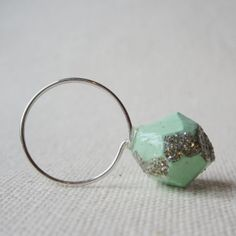 POP mini mint glitter ring - by #birdandbeau - #handmade #jewelry #shoplocal #raleigh #northcarolina #recycled #oneofakind