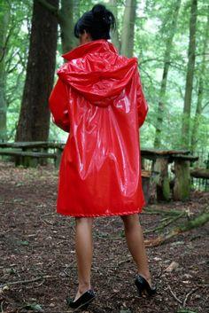 Fun in the woods! Red Raincoat, Vinyl Raincoat, Raincoat Jacket, Plastic Raincoat, Hooded Raincoat, Girls Wear, Women Wear, Rainy Day Fashion, Hooded Cloak