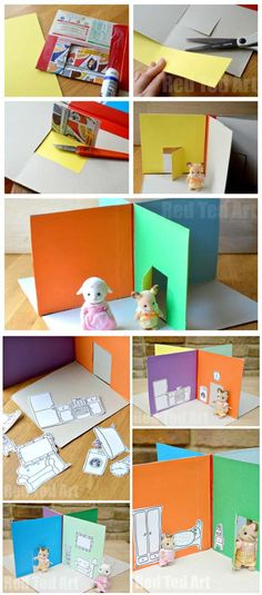 DIY Cereal Box Games for Girls | Foldable Doll's House by DIY Ready at http://diyready.com/28-things-you-can-make-from-cereal-boxes/