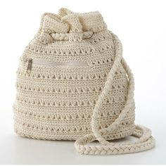 Mudd Crochet Drawstring Backpack ($20) found on Polyvore