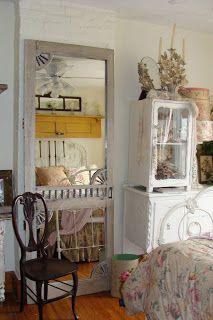 Antique screen door full length mirror...I love this soft look