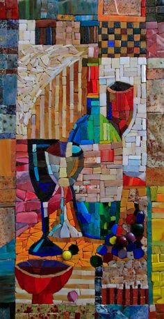 "Mosaic ""Still life with a bottle"""