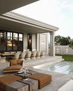Karol Boaventura Home Design Decor, Dream Home Design, Home Interior Design, Classic House Design, Modern House Design, Modern Architecture House, Architecture Design, Modern House Facades, House Outside Design