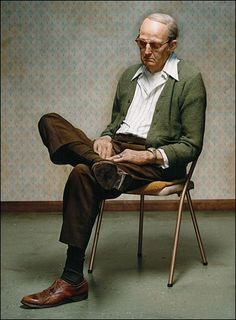 """Old Man Dozing,"""" by Duane Hanson, 1976, a lifesize sculpture made of polyvinyl polychromed in oil, and mixed media with accessories"""