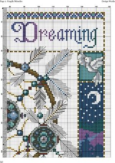 Atrapasueños Never Stop Dreaming # 3 Cross Stitch Pillow, Cross Stitch Boards, Cross Stitch Needles, Perler Patterns, Loom Patterns, Cross Stitch Designs, Cross Stitch Patterns, Cross Stitching, Cross Stitch Embroidery