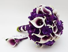 Real Touch Picasso Calla Lily Purple Hydrangea Bridal Bouquet Groom's Boutonniere in Plum Purple White -