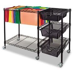 Oceanstar Portable Black 2-Tier Metal Rolling File Cart | Overstock.com Shopping - The Best Deals on Portable File Storage