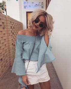 Trendy Summer Outfits To Wear Now Blue Off The Shoulder Top + White Denim Skirt Denim Skirt Outfits, White Denim Skirt, Style Outfits, Casual Outfits, Fashion Outfits, Womens Fashion, Denim Skirt Outfit Summer, Rock Outfits, Jeans Dress