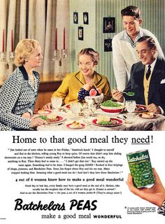 Quite the range of expressions over the mountain of peas they're sitting down to. #vintage #ad #food #1950s #peas #vegetables