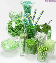 Green Candy Buffet---make it pink (or blue!) for the baby shower!