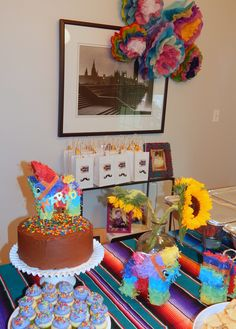 Mattea's Fiesta party - cake, gift bags, tissue paper flowers, mini pints