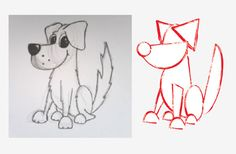 draw dog with the help of some basic shapes