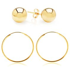 Solid 14-Karat Gold Hoops & Studs at 90% Savings off Retail!