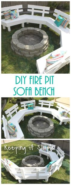 DIY fire pit sofa bench with detailed step by step instructions