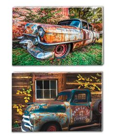 Look what I found on #zulily! Rustic Truck Outdoor Canvas Panel Set #zulilyfinds