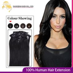 22inch 56cm Clips in Remy Human Hair Extension Color #1 Jet black 100g Containing 8pcs/set Full Head Women's Clip Virgin Hair $40.03
