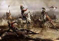 Death of General Ponsonby in Waterloo by the 4th of Lancers, 1815.