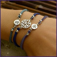 FREE design & instructions! Make your own leather Tree of Life Charm Bracelet. Click http://www.ninadesigns.com/jewelry_design_ideas/tree_of_life_3_strand_bracelet.html for supplies and directions. .