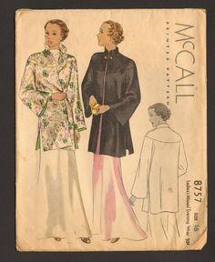 McCall 8757 | 1936 Ladies' & Misses' Evening Wrap