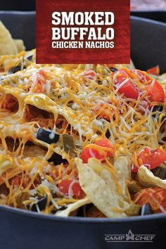 Give your nachos an extra kick with green chiles, jalapeños, and smoked buffalo chicken. Add as many ingredients as you want--make this recipe your own! Traeger Recipes, Grilling Recipes, Smoker Recipes, Iron Skillet Recipes, Cast Iron Recipes, How To Cook Pheasant, Tailgate Food, Tailgating, Starter Dishes