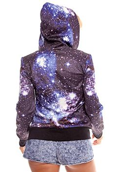0f3fa3981c Lolli Couture GALAXY PRINTED HOODED ZIP UP LONG SLEEVE SWEATER JACKET M  blue Long Sleeve Sweater