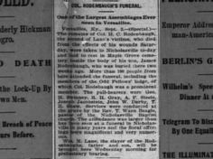 John W Darby pallbearer of slaying victim's funeral Louisville, KY Courier Journal Tues 3 Sep 1895