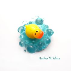 Lampwork glass duck cabochon by Heather Sellers Art Glass