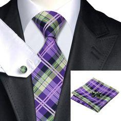 Blue Violet Plaid Tie