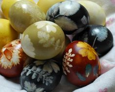 Natural dyed Easter eggs with flowers and leaves