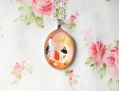 Calico Cat Necklace, Cute Necklace, Kitty Necklace, Kitten Necklace, Kawaii Necklace, Kawaii Kei, Sweet Lolita Necklace, Teen Girl Gift Idea