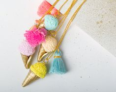 Ice cream necklace Unique necklace Statement necklace Statement jewelry Street fashion Coilorful necklace Clay necklace
