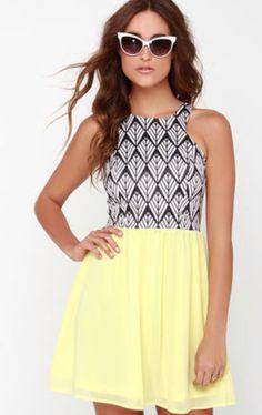 Prints and the Popper Yellow Print Dress $41 lulus.com
