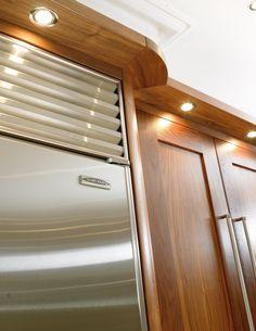Lighting recessed into modern cornice detail Walnut Kitchen Cabinets, Bespoke Kitchens, Cornice, Dream Kitchens, Handmade Furniture, Kitchen Lighting, Home Office, Detail, Bedroom