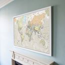 Classic Map Of The World Poster by Maps International, the perfect gift for Explore more unique gifts in our curated marketplace. Map Maker, Wall Maps, Detailed Image, Cartography, Different Colors, Vintage World Maps, Living Room, Classic, Poster