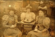 Ladies taking tea, ca. 1890s.