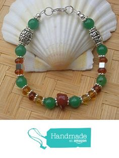 """University of Miami Spirit Bracelet """"Touchdown Tommy"""" from The Orange and Green Collection from Wholistic Blessings http://www.amazon.com/dp/B018F412BS/ref=hnd_sw_r_pi_dp_wlbEwb007D64R #handmadeatamazon #UniversityofMiami #UM #GoCanes"""