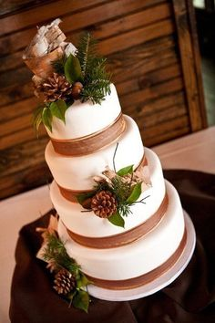 Winter Wedding Cakes Wedding Cakes Photos on WeddingWire.  Change out the ribbon for a different color and it would be perfect.