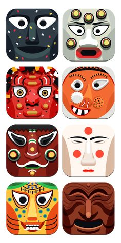 Korean traditional mask icon by Lee Seung Jae, via Behance Korean Traditional, Traditional Design, Korean Art, Asian Art, Korean Crafts, Korean Design, Korean Hanbok, Mask Design, Japanese Art
