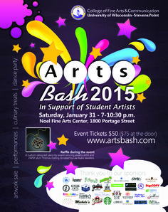 Join us for Arts Bash 2015 in support of student artists on Saturday, January 31st! Event Tickets $50 ($75 at the door)