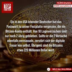 Ein in den USA lebender Deutscher hat das Passwort zu seiner Festplatte vergessen, die ein Bitcoin-Konto enthält. Von 10 Loginversuchen sind nur noch 2 übrig geblieben. Sollte er die 2 Versuche ebenfalls vermasseln, zerstört sich der digitale Tresor von selbst. Übrigens sind die Bitcoins etwa 220 Millionen Dollar wert. #bitcoin #bitcoins #krypto #kryptowährung #geld #digital #reichtum #finanzen #fakten #funfact Photo And Video, Usa, Videos, Movie Posters, Instagram, Wealth, Hard Disk Drive, Finance, Money