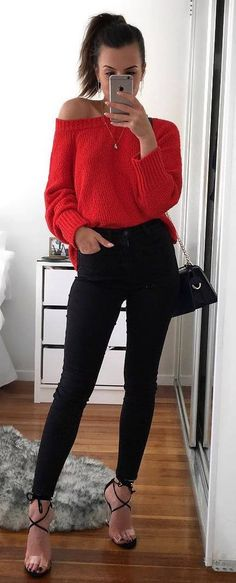 cute fall outfit idea : red sweater + bag + skinnies + heels