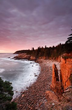 Monument Cove and Boulder Beach at dawn, Maine, USA