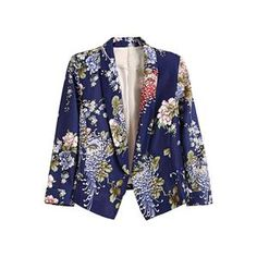 Buttonless Blue Floral Print Blazer.Blue blazer, featuring shawl collar, buttonless and sleeve styling, two fake pockets on front, slim fit, soft-touch fabric. Mixing with a basic vest, leggings or denim shorts and leisurely shoes would make you look cool. - See more at: http://pariscoming.com/en-buttonless-blue-floral-print-blazer-p149214.htm#sthash.5M9MOLr4.dpuf