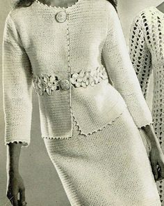 Gilet Crochet, Crochet Jacket, Crochet Blouse, Knit Crochet, Mode Vintage, Vintage Ladies, Dress Patterns, Crochet Patterns, Häkelanleitung Baby