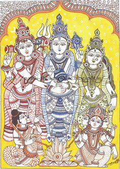 In this Kalamkari painting [depicting Meenakshi-Sundareshwarar kalyanam/marriage] I have used 4 different colours for better . Phad Painting, Mural Painting, Mural Art, Silk Painting, Murals, Indian Traditional Paintings, Indian Art Paintings, Ancient Indian Art, Indian Folk Art