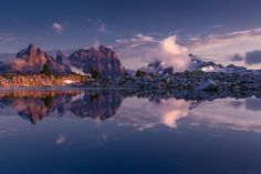 Mirrored by Jeremy Duncan on 500px.. #Alpine #Alpine lakes wilderness #Cascades #Jagged #Lake #Mirror #Mountains #Pacific Northwest #Peak #Reflection #Sunset #Tank Lakes #Washington