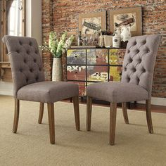 Benchwright Button Tufts Upholstered Rolled Back Parsons Chairs ( Set of 2) - Overstock™ Shopping - Great Deals on Dining Chairs