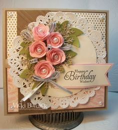 Gorgeous Handmade Birthday Card - It's a Stamp Thing: Happy Birthday Anne Marie Birthday Cards For Women, Handmade Birthday Cards, Happy Birthday Cards, Greeting Cards Handmade, Birthday Images, Birthday Quotes, Birthday Greetings, Birthday Wishes, Pretty Cards