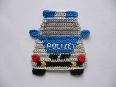 Häkelapplikationen - Polizeiauto