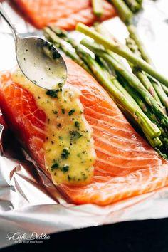 Lemon Parmesan Salmon & Asparagus Foil Packs - Cafe Delites